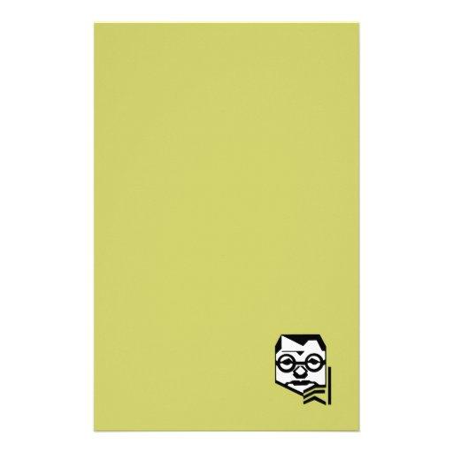 Hombre pensativo con verde de los vidrios papelería de diseño