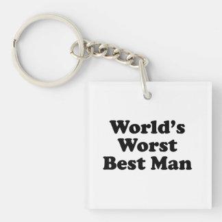 Hombre peor del mundo el mejor llavero cuadrado acrílico a una cara