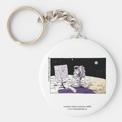 Hombre perdido en llavero divertido de la luna