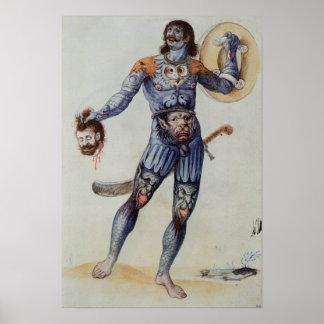 Hombre picto que lleva a cabo una cabeza humana impresiones