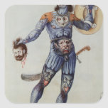 Hombre picto que lleva a cabo una cabeza humana calcomania cuadradas