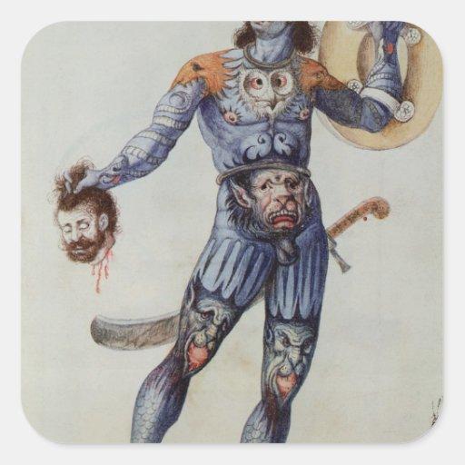 Hombre picto que lleva a cabo una cabeza humana pegatina cuadrada
