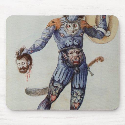 Hombre picto que lleva a cabo una cabeza humana tapetes de raton