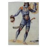 Hombre picto que lleva a cabo una cabeza humana tarjeta de felicitación