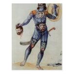 Hombre picto que lleva a cabo una cabeza humana postales