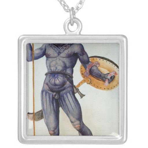 Hombre picto que sostiene un escudo collar