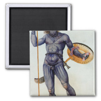 Hombre picto que sostiene un escudo imán cuadrado