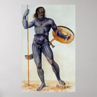 Hombre picto que sostiene un escudo impresiones