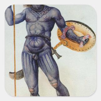 Hombre picto que sostiene un escudo pegatina cuadrada