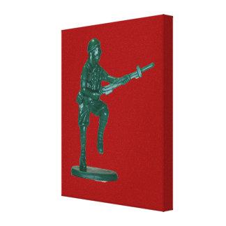 Hombre plástico verde del ejército impresión en lona estirada