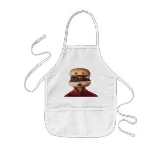 Hombre principal de la hamburguesa sobre blanco delantal infantil