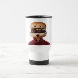 Hombre principal de la hamburguesa sobre blanco taza térmica