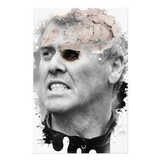 Hombre principal esquelético loco del zombi de papeleria
