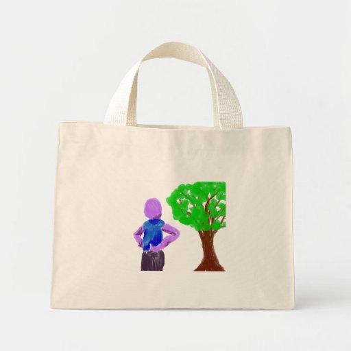 Hombre púrpura del dibujo animado y roble verde bolsa lienzo