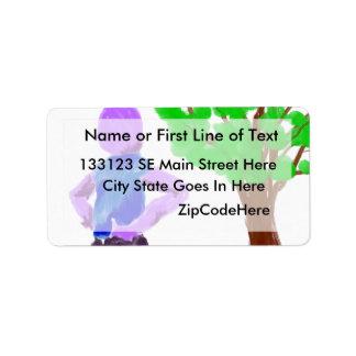 Hombre púrpura del dibujo animado y roble verde etiquetas de dirección