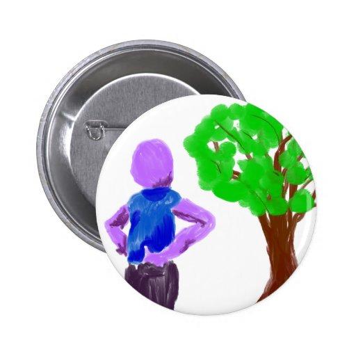 Hombre púrpura del dibujo animado y roble verde pin
