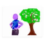 Hombre púrpura del dibujo animado y roble verde tarjetas postales