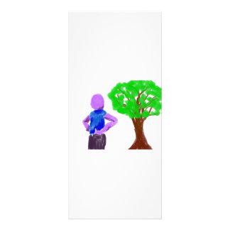 Hombre púrpura del dibujo animado y roble verde tarjeta publicitaria