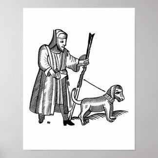 Hombre que camina su perro posters
