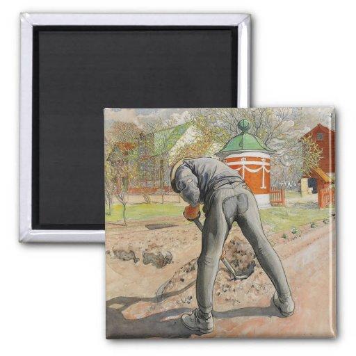 Hombre que cava c1912 imanes para frigoríficos