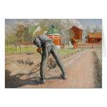 Hombre que cava c1912 tarjeta de felicitación