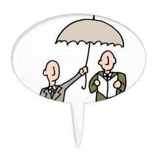 Hombre que comparte su paraguas figuras para tartas