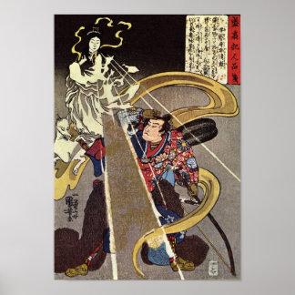 Hombre que enfrenta la aparición de la diosa del F Poster
