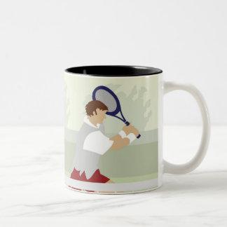Hombre que juega al tenis 2 taza de dos tonos
