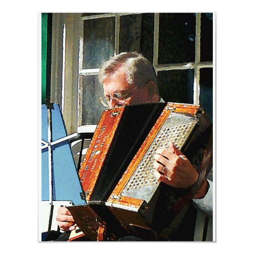 Hombre que juega el acordeón invitación 10,8 x 13,9 cm