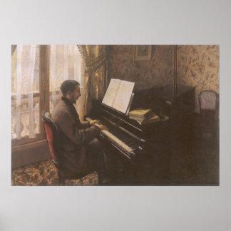 Hombre que juega el piano por Caillebotte, arte Póster