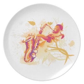 Hombre que juega estilo chillón de la acuarela del plato para fiesta
