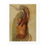 Hombre que lucha con un constrictor de boa, estudi tarjeta postal