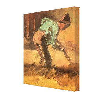 Hombre que se inclina con el palillo o la espada; lona estirada galerias