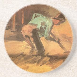 Hombre que se inclina con el palillo o la espada, posavasos cerveza