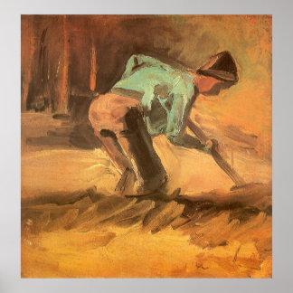 Hombre que se inclina con el palillo o la espada; póster