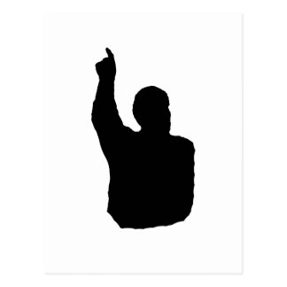 hombre que señala encima de sombra postal