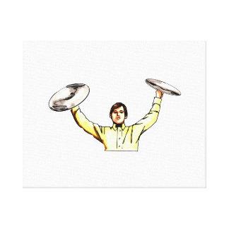 Hombre que soporta la camisa amarilla de los plati lienzo envuelto para galerías
