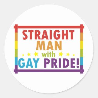 Hombre recto con orgullo gay pegatina redonda