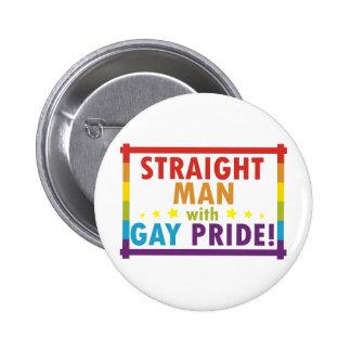 Hombre recto con orgullo gay pin redondo de 2 pulgadas