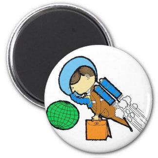 Hombre retro del viajero de la oficina del espacio imán redondo 5 cm