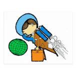 Hombre retro del viajero de la oficina del espacio tarjetas postales