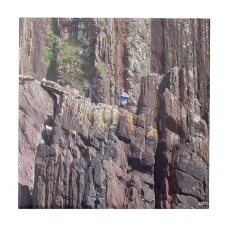 Hombre salvaje en los acantilados azulejo cerámica