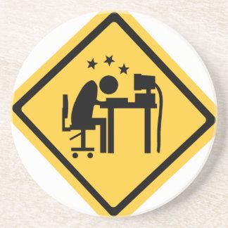 Hombre Sat en un ordenador Posavasos Manualidades