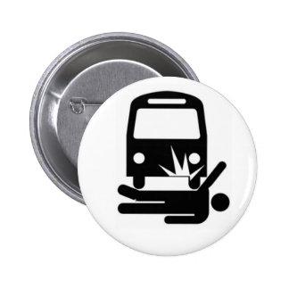 Hombre señalado debajo del autobús pin redondo de 2 pulgadas