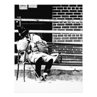 Hombre sin hogar tarjetas publicitarias