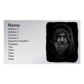 Hombre sin hogar y desamparado en blanco y negro tarjetas de visita