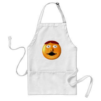 Hombre sonriente anaranjado de la cara delantal
