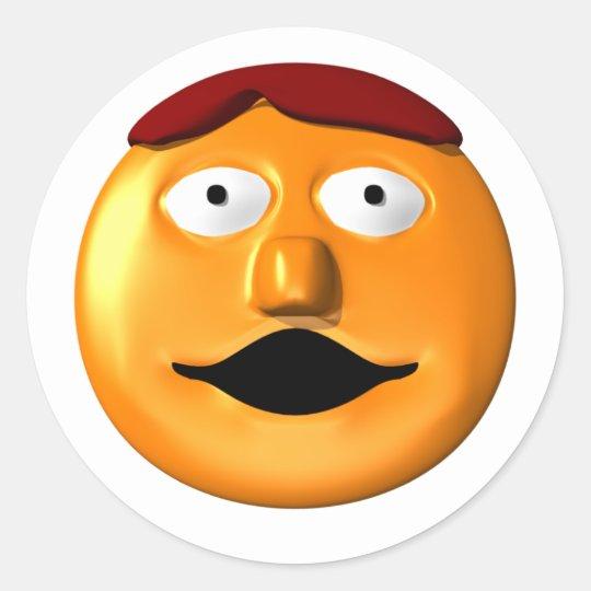 Hombre sonriente anaranjado de la cara pegatina redonda