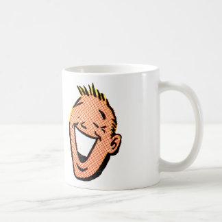 Hombre sonriente feliz del dibujo animado del taza