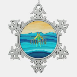 Hombre SUPERIOR de la tabla hawaiana Adorno De Peltre En Forma De Copo De Nieve